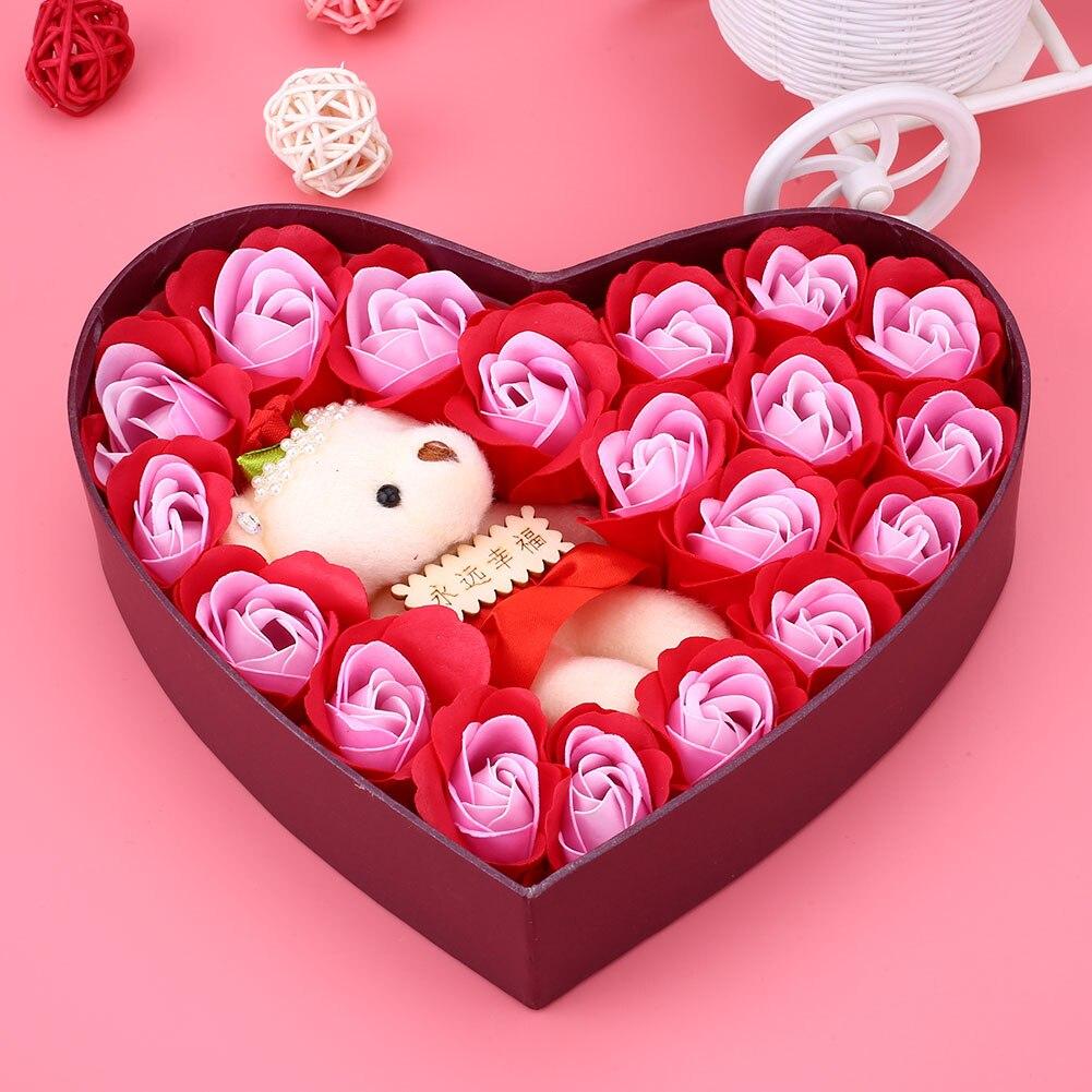 Романтический мыло в Форме Розы элегантный с маленьким милый игрушечный медведь в форме сердца коробка отлично подходит для День святого Валентина подарки свадебный подарок - Цвет: Red