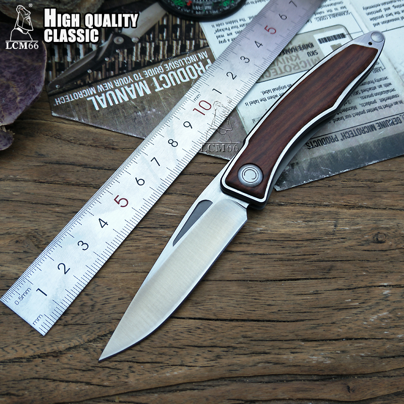 цена на LCM66 Portable folding knife high Quality Knives Steel and wood handle Camping Outdoor Survival Knives Pocket Tools CHRIS Sharp