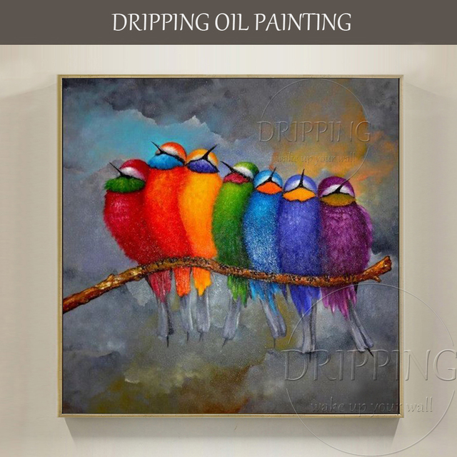 Funny design colorful 7 birds stay on branch oil painting - Oil painting ideas for living room ...