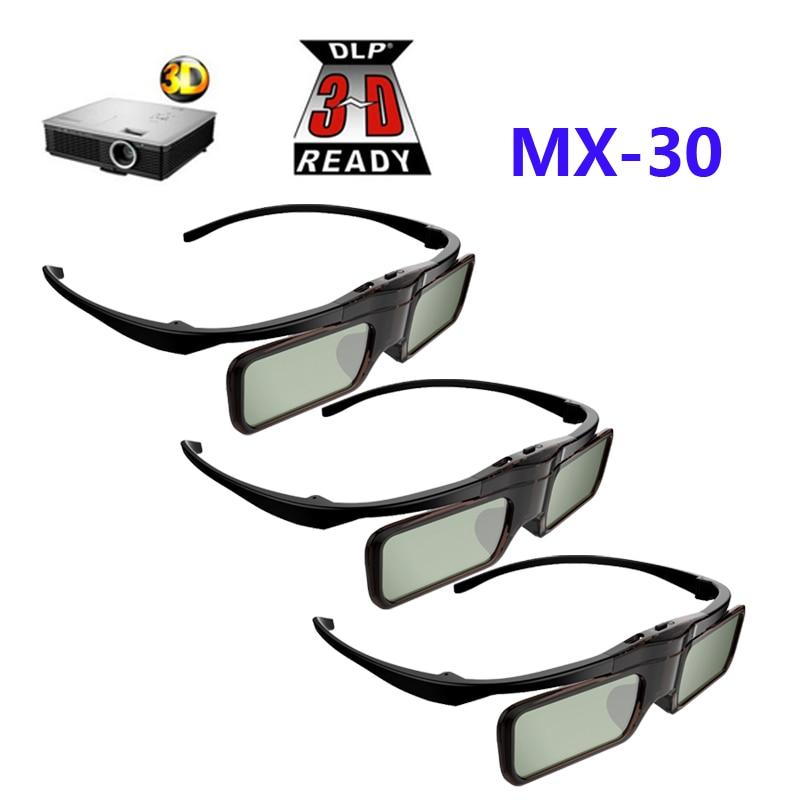 62b2fb220 3 pcs 3D óculos de Obturador Ativo DLP óculos para BenQ W1070/W750/W1080ST  Acer/Optoma/Dell 96-144 HZ DLP-LINK projetores