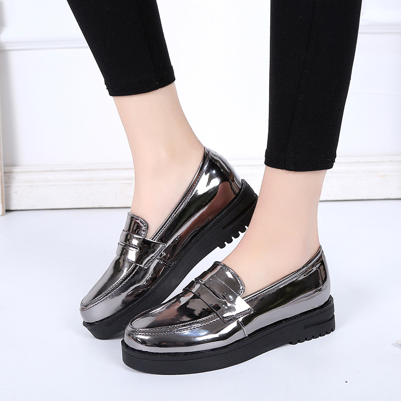 New Spring 2018 Autumn Women Flats Shoes Platform Sneakers Shoes PU Leather Casual Shoes Slip on Flats Creepers beffery 2018 spring patent leather shoes women flats round toe casual shoes vintage british style flats platform shoes for women