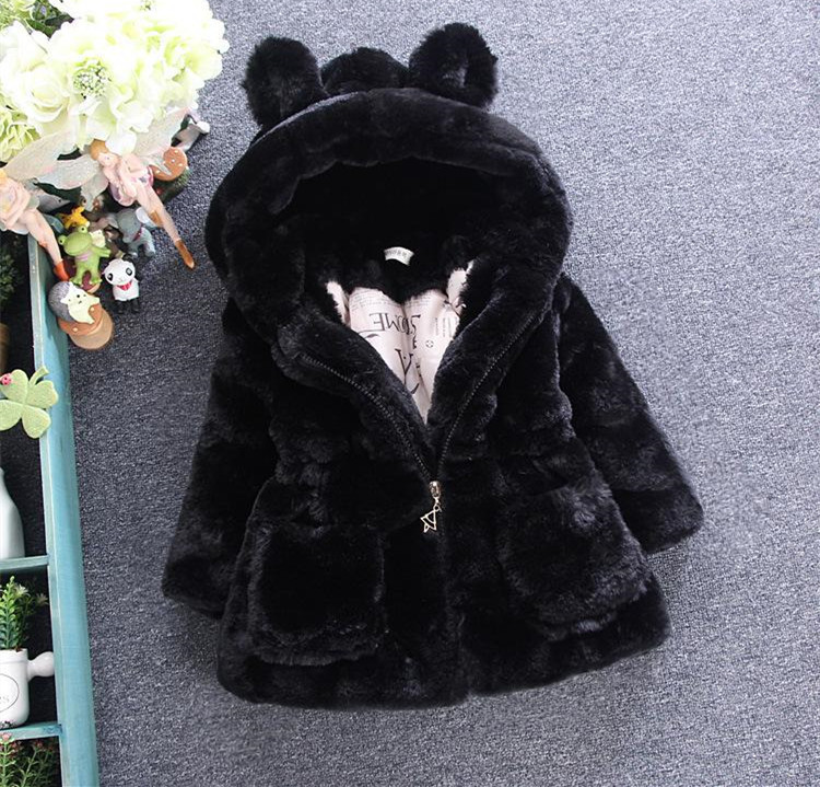 599db39e7 Baby Hooded Girl boy fur Coat Jacket Outerwear for Girl pink black ...