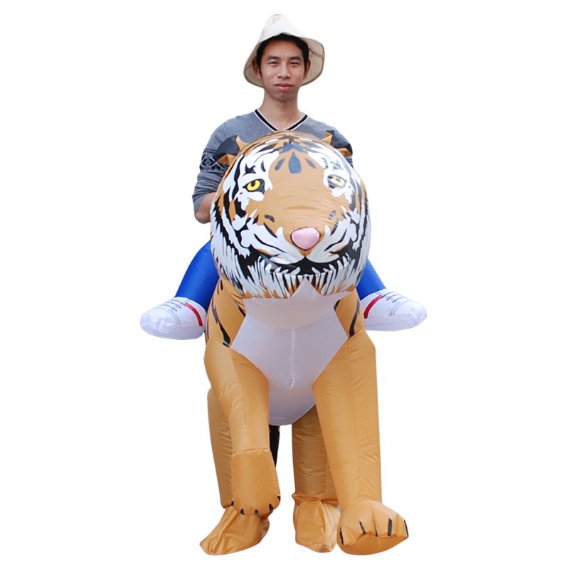Novelty Adult Halloween Cosplay Party Inflatable Costumes Air Fan Blow Up Suits Fancy   Tiger  Animal Costume for Suitable