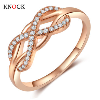 KNOCK high quality Fashion Micro Inlayed Cross Rings For Women Wedding Cubic Zircon CZ Crystal Ring Rose Gold Color