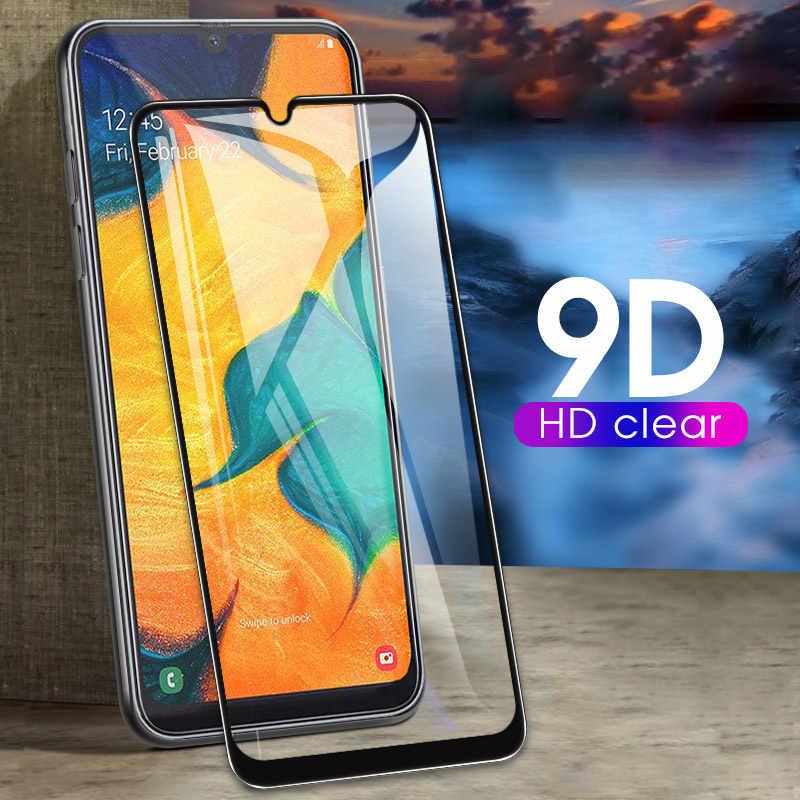 9D Per A7 A750 2018 A30 A50 Pieno Della Copertura di Vetro Per Samsung Galaxy M10 M20 A8 A9 Più Il 2019 Dello Schermo proteggere Pellicola Nuova Pellicola di Vetro Caso