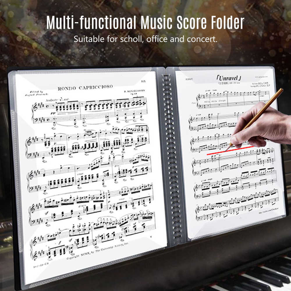 Multi-functional A4 Size Music Score Paper Sheet Document File Organizer Storage Folder 20 Pages for Instrument Player Concert