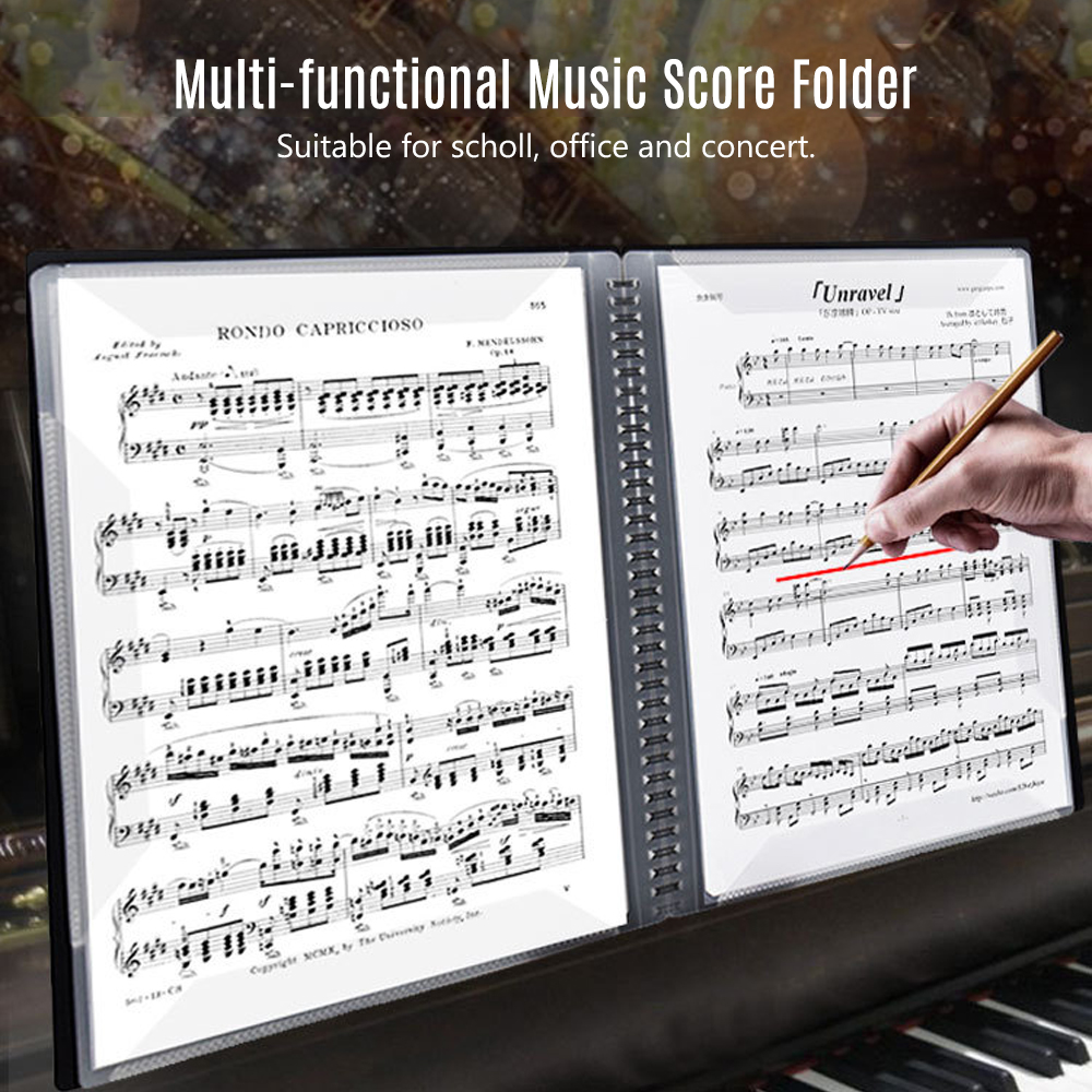 4 Pages Music Score Storage Holder Sheet File Paper Documents Storage Folder NEW