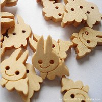 1000pcs rabbit Wooden Buttons 2 Holes Natural Sewing Button Craft Scrapbooking Products 13*17mm 002002003