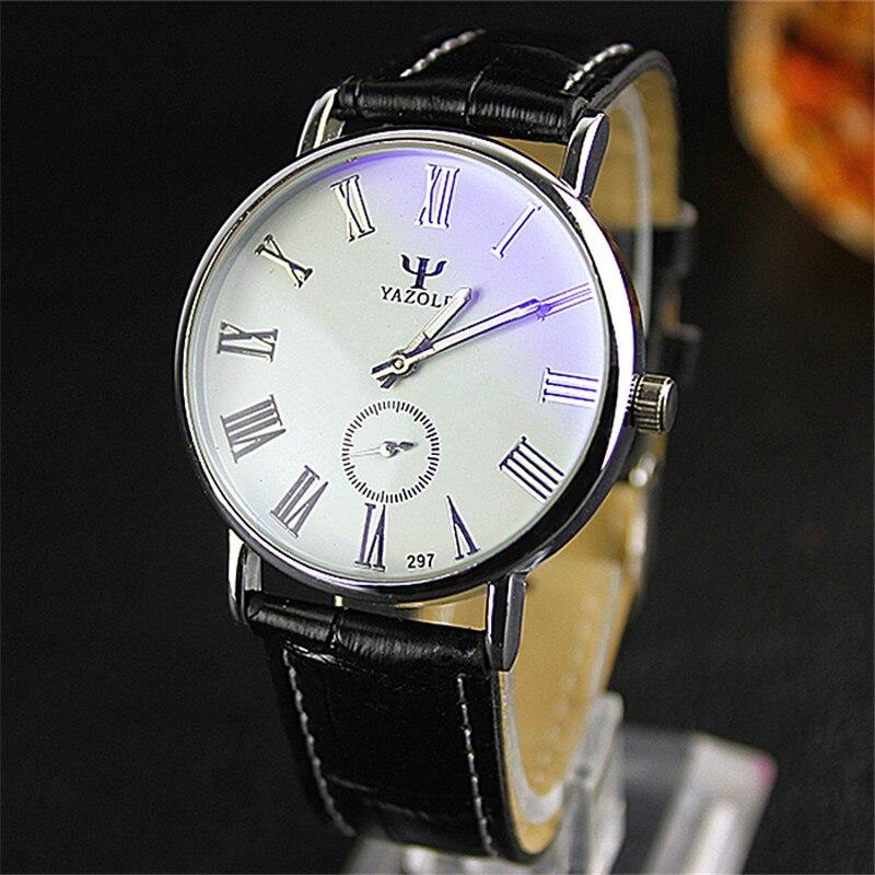 YAZOLE Fashion Brand Lovers Watch Women Men Leather Wristwatches Round Dial Clock Waterproof Blue Glass Halftime Quartz Watches
