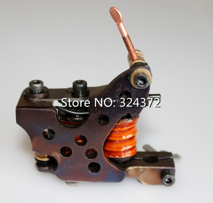 ФОТО professional brass wire 8 wraps liner manual handmade Cast iron frame Tattoo Machine Gun for  tattoo grip grip tattoo aluminium