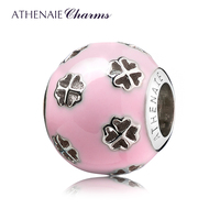 ATHENAIE 925 Sterling Silver Romantic Pink Enamel Lucky Clover Hearts Faith Love Hope Charm Fit All