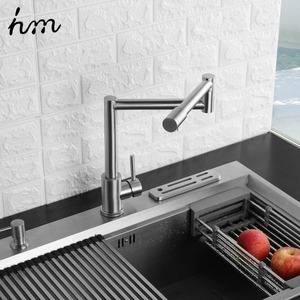 Image 4 - hm Folding Kitchen Faucet Stretchable Swing Arm Brushed  Single Hole Single Handle Deck Mounted Cold & Hot Kitchen Sink Faucet