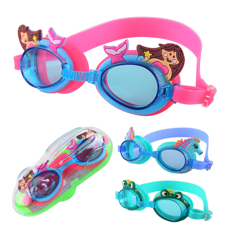 Kids Swimming Goggles Age 3-12 Child Waterproof Swimming Glasses Clear Anti-fog UV Protection Soft Silicone Frame And Strap