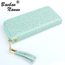 Women Wallet Purse Tassel-Card-Holders Totems Cellphone Handbag Pocket Money-Pouch Clasp