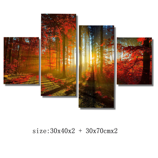 Modern Art Canvas Prints Artwork NO frame with Sun through forest ...