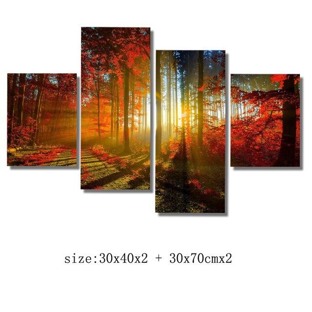 Moderne Kunst Leinwand Kunstwerk NO Frame Mit Sonne Durch Wald Moderne  Gemälde Auf Leinwand Wandkunst Für