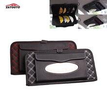 Автомобильный солнцезащитный козырек коробка с 14 CD/Этикетка для DVD Слот кожаный контейнер для салфеток сумка для хранения автомобильные аксессуары