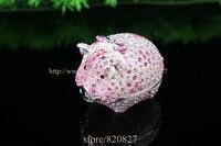 Shiny Pig Jewelry Trinket Box Bejeweled Figurine Crystals Big Piggy Metal Trinket Box Girls Dream Treasure