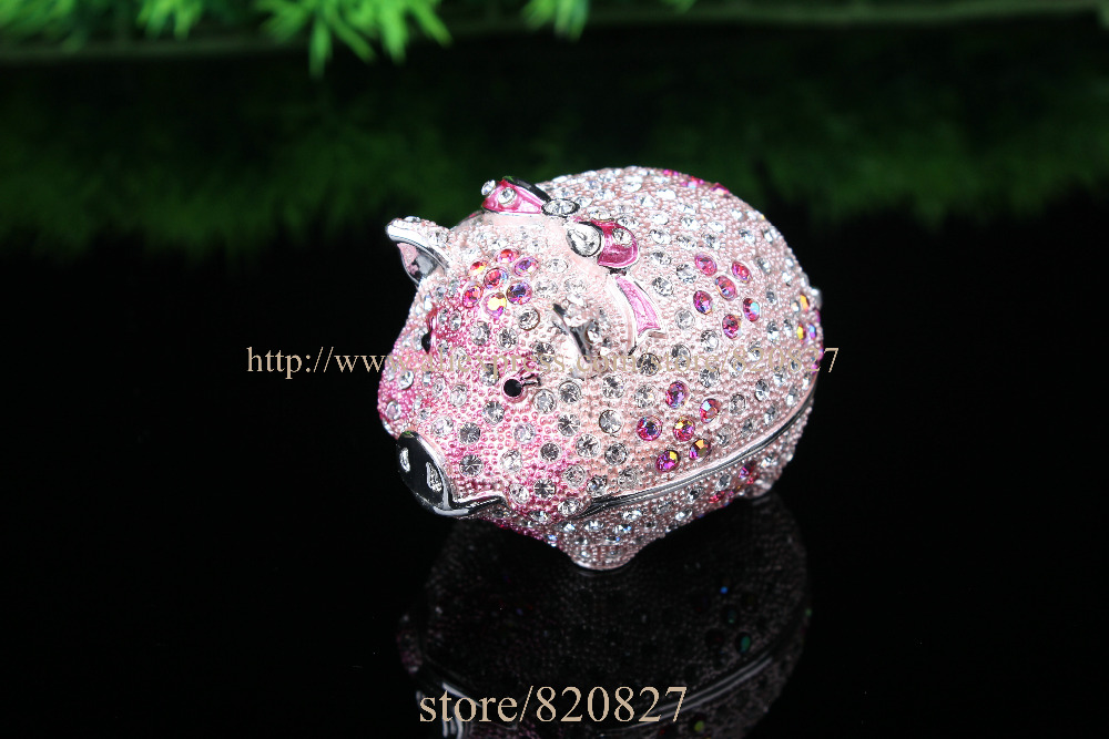 купить Big Shiny Pig Jewelry Trinket box Bejeweled Figurine Crystals Piggy Metal Trinket Box Girls Dream Treasure Box10*6*7.5 CM(L*W*H)