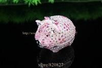 Big Shiny Pig Jewelry Trinket box Bejeweled Figurine Crystals Piggy Metal Trinket Box Girls Dream Treasure Box10*6*7.5 CM(L*W*H)