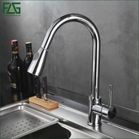 Pull Out Brass Low Pressure Kitchen Faucet Black Colour