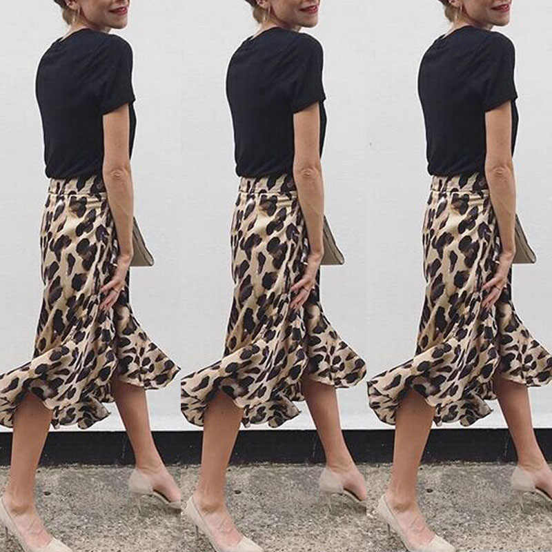 6f7fa6274489 ... Womens Sexy Skirts High Waist Leopard Print Ladies Skirt Evening Party  Fashion Dovetail Skirts For Women ...