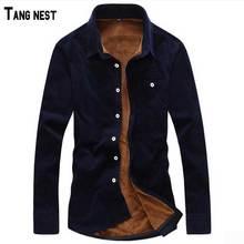 TANGNEST/Для мужчин; Новинка 2017 года В наличии 14 цветов большой 5XL Размеры Вельветовая рубашка Для мужчин Однобортный однотонные теплые Рубашки для мальчиков Костюмы для мужчин MCL1305