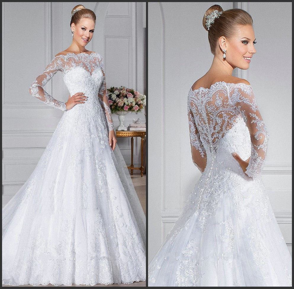 Wedding Dress White Vs Off White: 2019 New White Long Sleeve Lace Wedding Dresses Off The