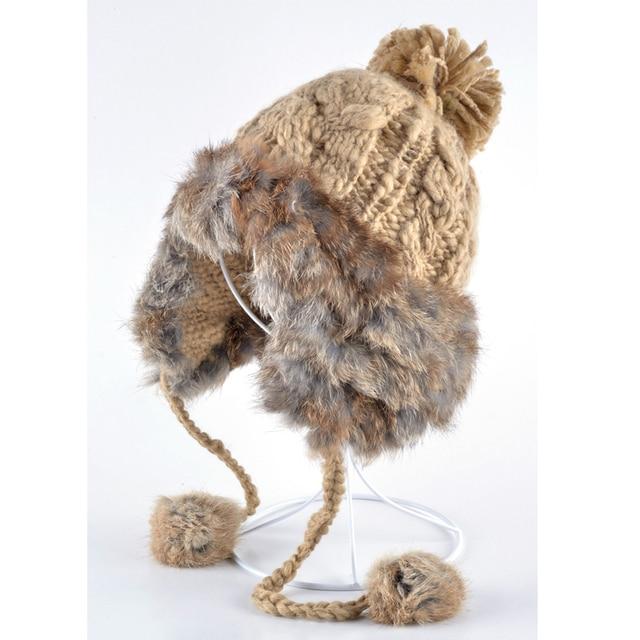 Модные зимние шапки для женщин бомбардировщики hat натуральный мех кролика gorras шерсть свободного покроя милые девушки русский резиновых накладок