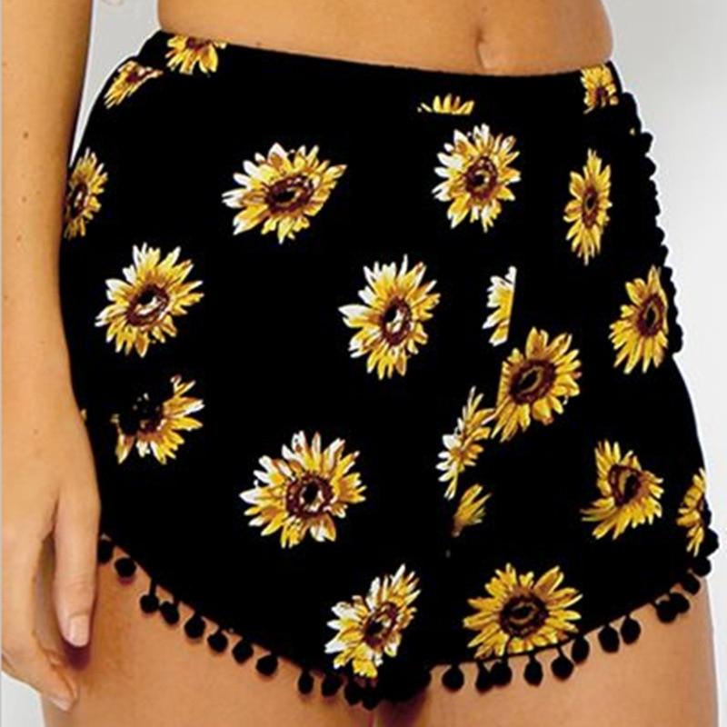 2019 Summer Style Casual Shorts Women Black Beach  Ball Tassel Sunflower Print Short Elastic High Waist Shorts