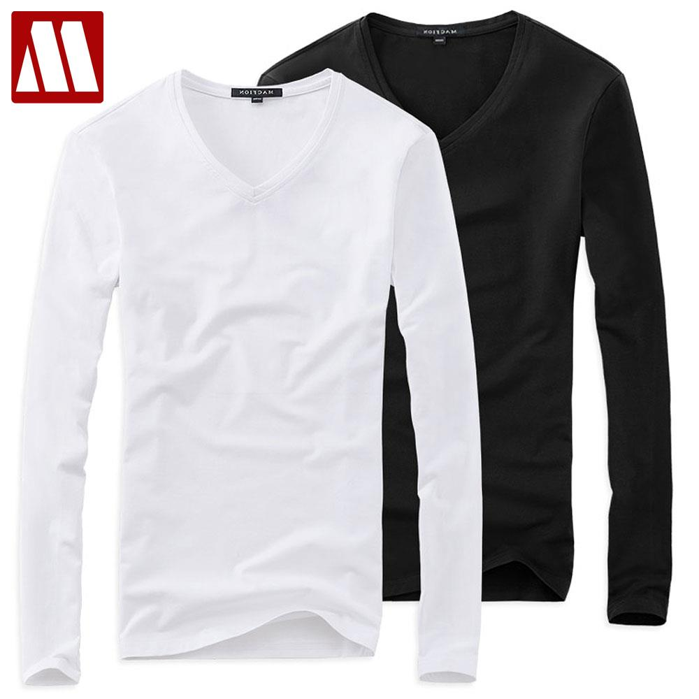 Black t shirts v neck - Plus Size Summer Style Solid V Neck T Shirt Men 5xl Cotton Long Sleeve Camisa Masculina Men S 16color Black Navy Tshirt 2017 New