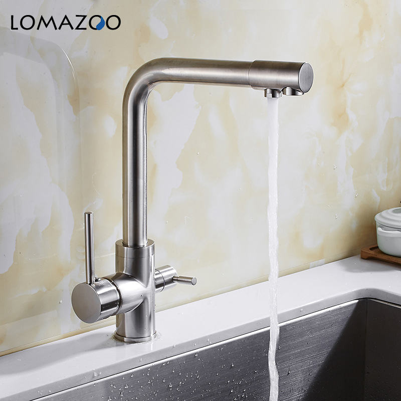купить LOMAZOO Double Tap Kitchen Faucet Bathroom Sink Faucet Rotatable Waterfall Faucet Single Handle Brass Rotate mixer по цене 4997.14 рублей