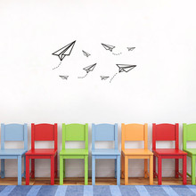 1PCS Creative Cartoon Paper Airplane Wall Sticker For Boys Children Living Room Bedroom Decal Self-adhesive Art Stickers 42*26CM