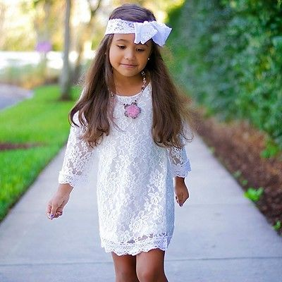 2017 Hot Summer Kids Baby Girls Princess Cute Flower Lace Tutu Formal Children Dress Casual Long Sleeve Mini 2-11Y children dress lace princess dress loose two piece girl girls dress casual summer long