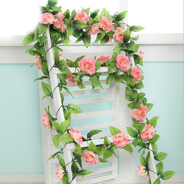 Simulation Flower Rose Artificial Wedding House Decoration 240cm Length Vine Creepers Gift Decorative DIY