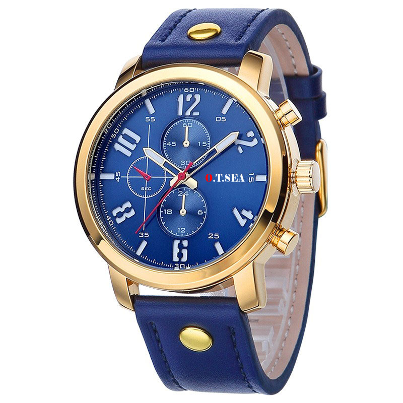 Watch Military Style with Leather Strap Blue