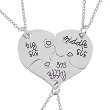 3 PCS Big Middle Little Sister Love Heart Stitching Pendant Necklaces Good Sisters Letter Alloy Link Chain Choker Necklace Gift