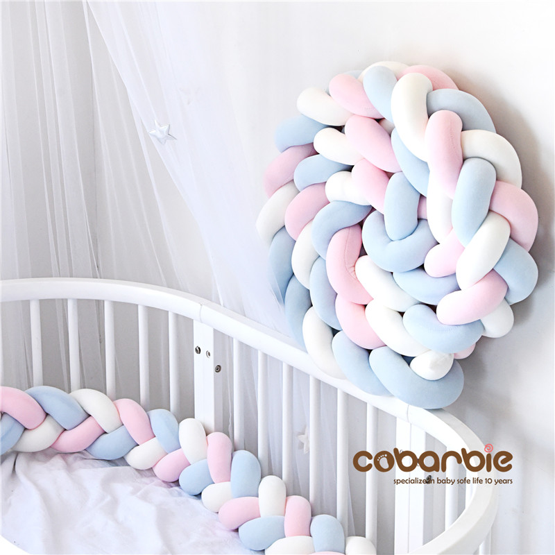 300 cm Baby Braided Crib Bumpers Knot Pillow Cushion Nursery bedding cot room dector