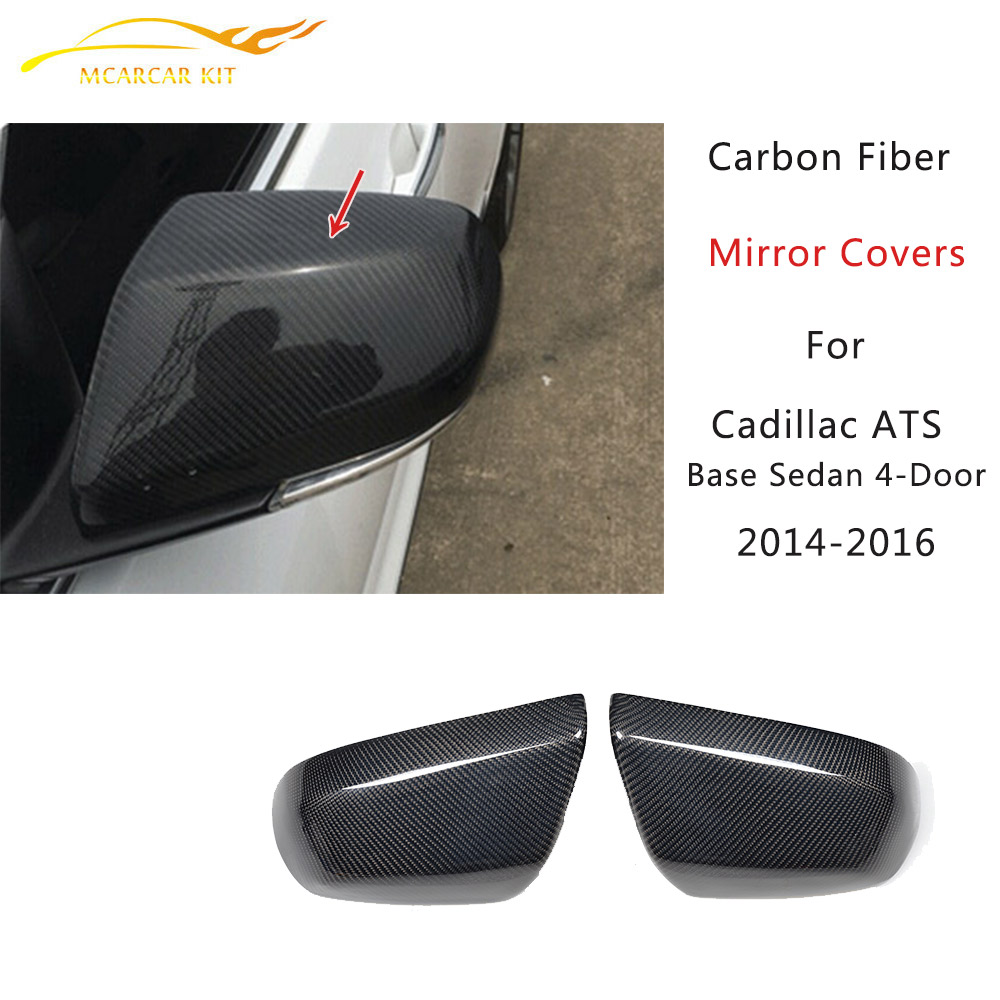 Direct Replacement Carbon Fiber Mirror Covers for Cadillac ATS Base Sedan 4-Door 2014-2016 Rearview Mirror Caps Car styling