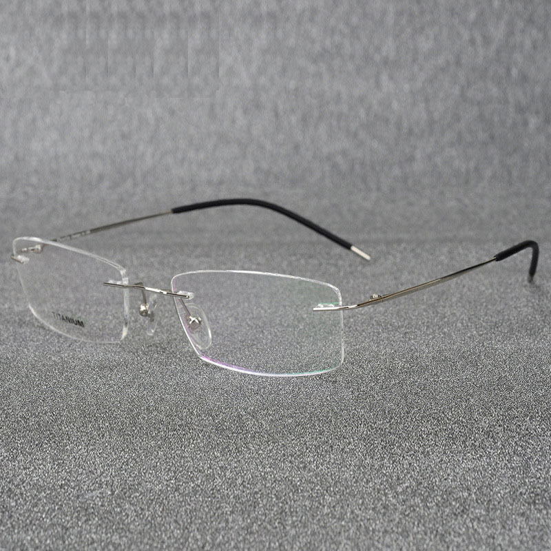 Rimless Titanium Eyeglasses Frame Super Lightweighted Flexible Titanium Alloy Temple Legs Optiska Glasögon Spectacles