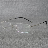 Rimless Titanium Eyeglasses Frame Super Lightweighted Flexible Titanium Alloy Temple Legs Optical Glasses Spectacles