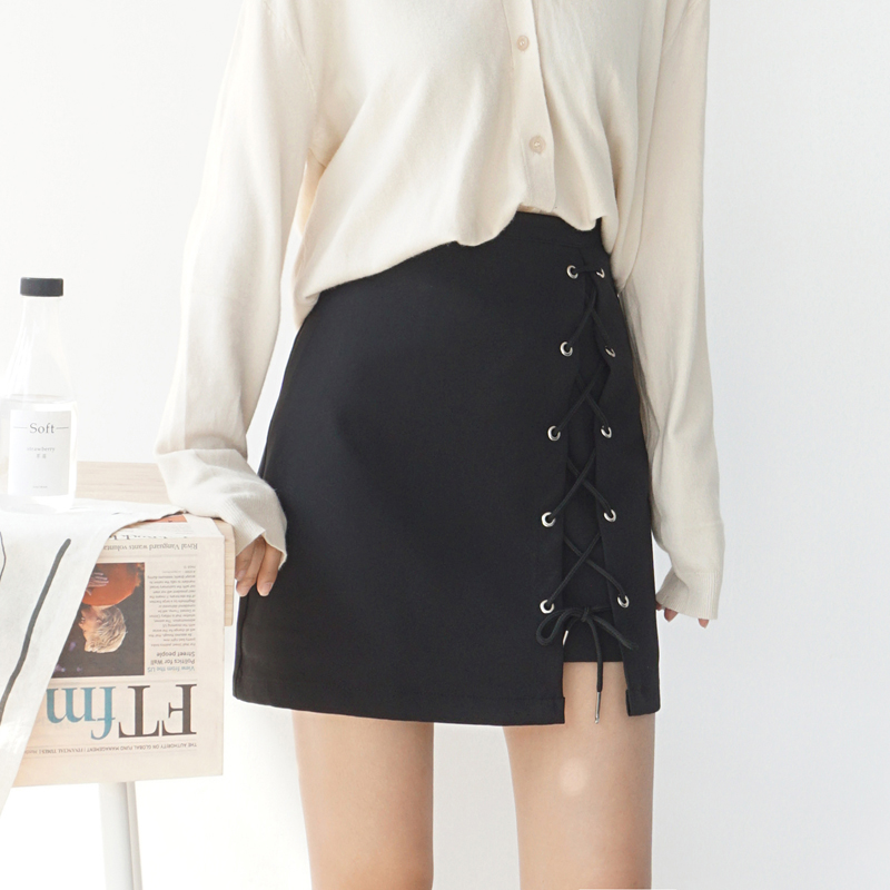 2018 new Bandage High Waist Solid Joker Thin A word Skirt