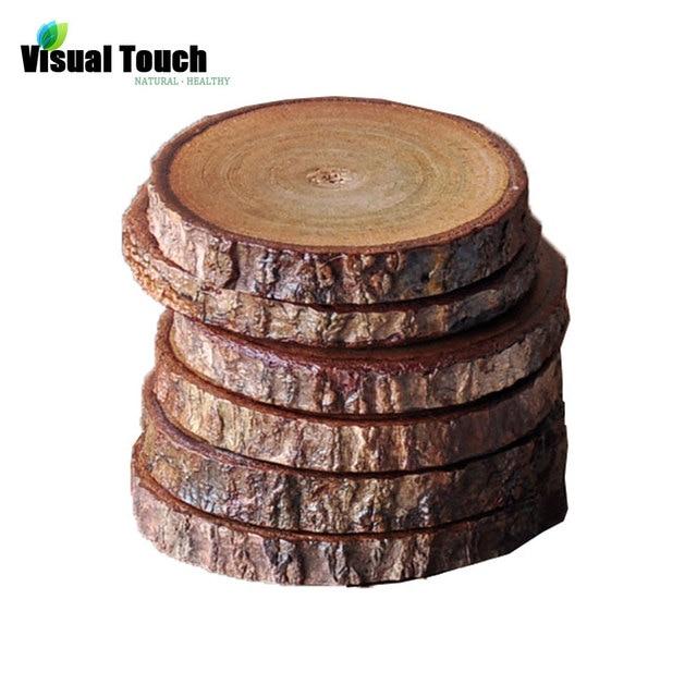 Wizualne dotykowy 1 PC charakter drewna ziarna solidne drewniane podkładki kubek mata pić podstawki filiżanka Pad (6- 8 cm Dia.) Kubek Plate