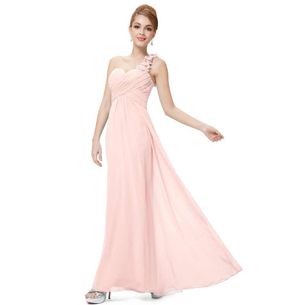 97daddfed2 Plus Size A-line Chiffon Prom Dresses 2018 Simple One-Shoulder Sleeveless  Empire Waist Flower Cheap Gala Jurken Long Party Gowns