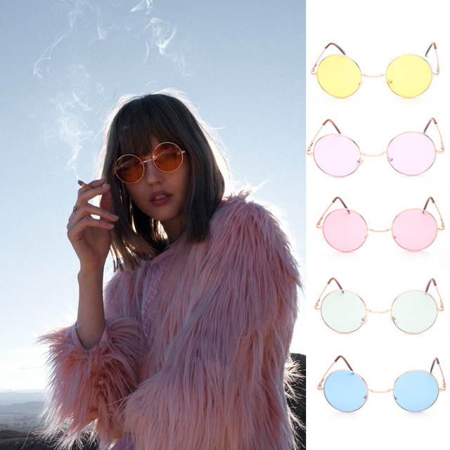 34110827746ef placeholder Retro hippie Lennon rodada óculos de sol das mulheres de Metal  armação de Metal círculo lentes