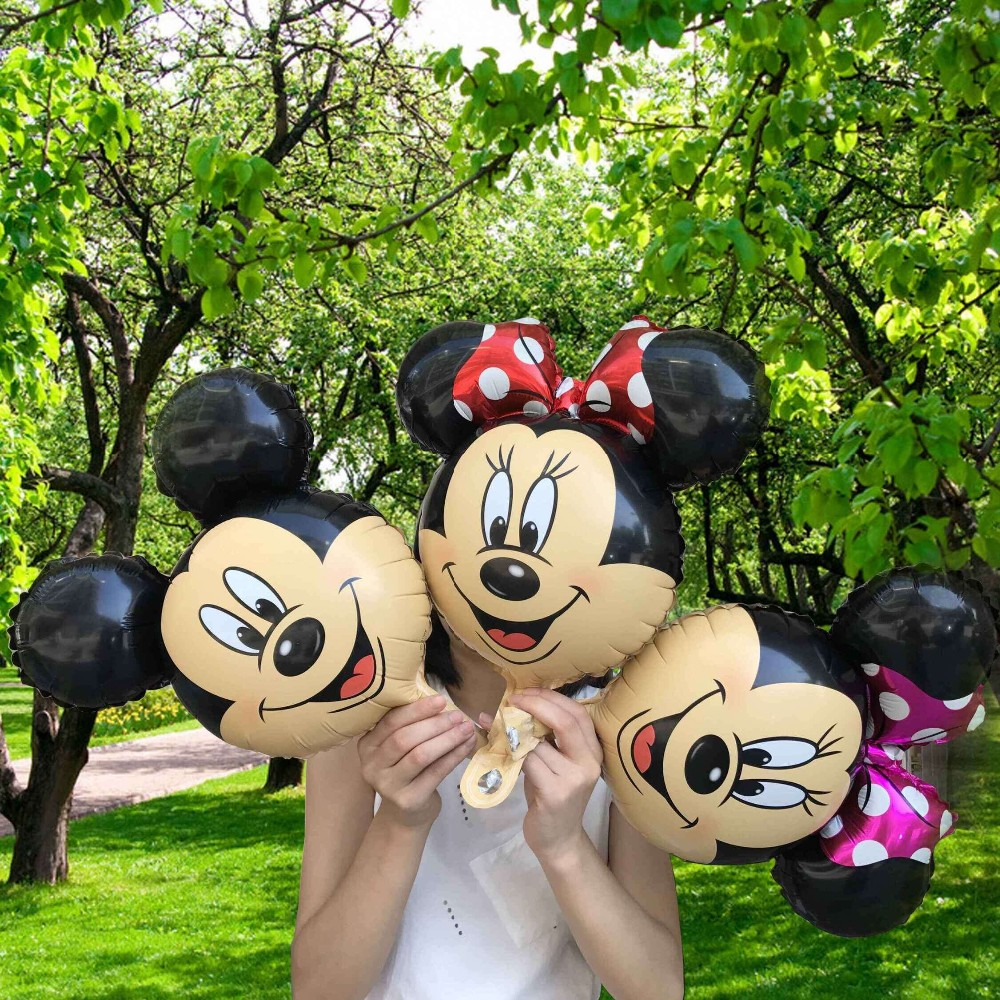 300pcs Mini mickey minnie mouse head foil balloons Red Minnie theme party supplies baby shower birthday decoration globos toys