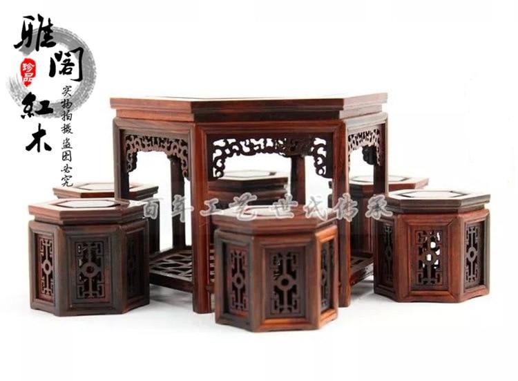 Usine direct acajou meubles ornements miniatures palissandre tables hexagonales ensemble modèle petit tabouret de table