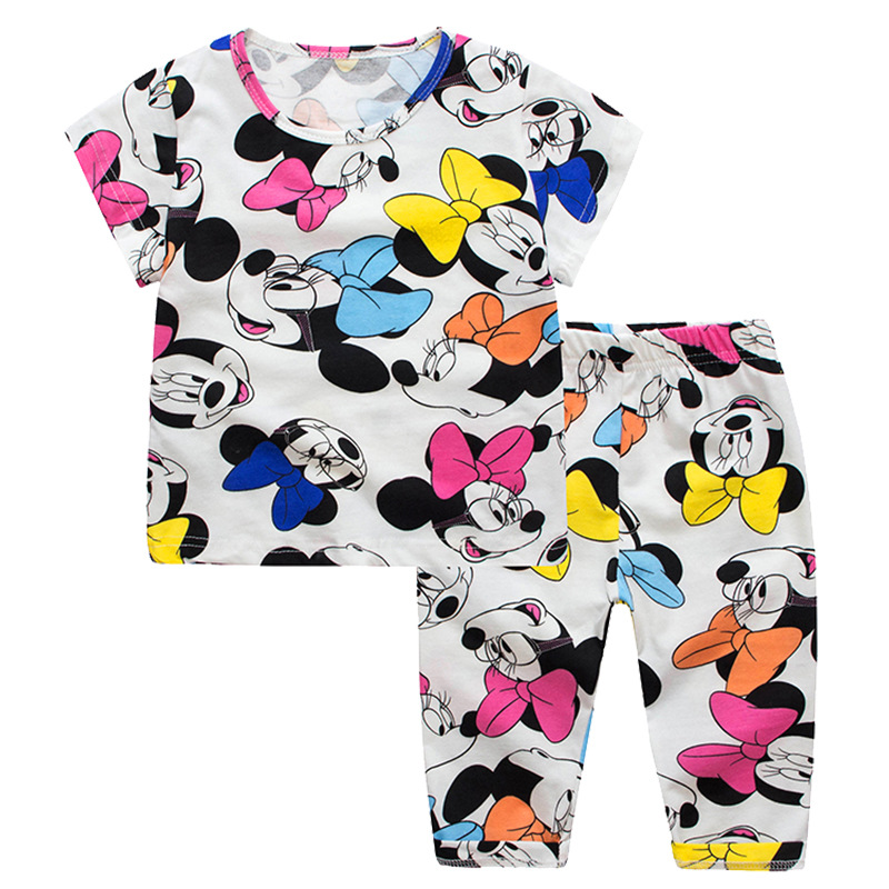 Jumpingbaby 2019 Kitty Piżamy dziecięce Minnie Baby Girl Odzież Piżamy Zestaw Pijamas Infantil Nightgrow Szaty Vetement Enfant Fille