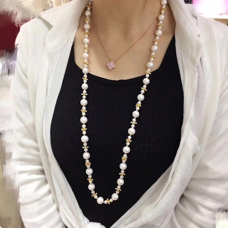 Image 4 - Collar de cadena de perlas de Sinya, collar largo con cordones de perlas naturales redondas para mujer, chica, amante de las madres, 85cm de longitud, diámetro 10 11mmnecklaces for womennecklace roundnecklace long -