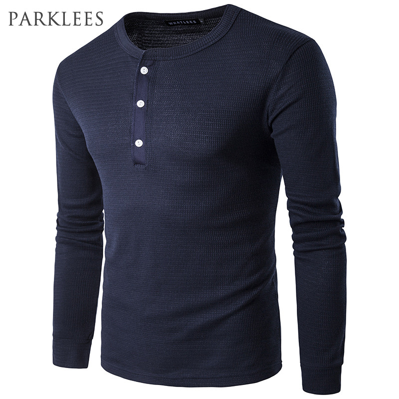 knitting t shirt men 2017 spring new high quality long sleeve waffle cotton tee shirt homme. Black Bedroom Furniture Sets. Home Design Ideas